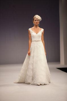 25 Drop Dead Gorgeous Fall 2013 Wedding Dresses by Anne Barge | OneWed CHEAPER http://www.bridaydress.com/ab-delphine-full-skirt-lace-fabric-v-neck-neckline-sleeveless-chapel-train-wedding-dress.html