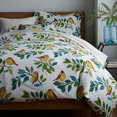 The Birds Eye View Flannel Sheets & Bedding Set features colorful, hand-drawn birds perched on leafy branches. The Company Store Comforter Sale, Bedding Shop, Flannel Duvet Cover, Bed Springs, The Company Store, Duvet Cover Design, Beds For Sale, Decoration, Luxury Bedding