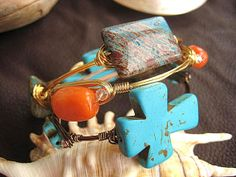 Endless Wire Wrap Beaded Bangle Bracelet Turquoise Multi Cross with Crystals Espresso Wire   by LeatherDiva, $22.00