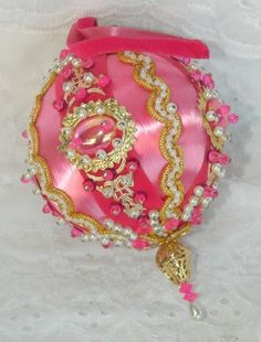 Vintage Satin Silk Bead Heavily Decorated Christmas Tree Ornaments Pink Gold