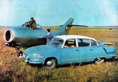 Tatra 603 and the MiG-15 jet fighter, from a period postcard.