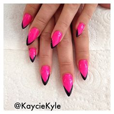 "kayciekyle: ""#stilettonails with black tips - #nails #nailporn #nailart #naildesign #hotpink "" Spring options"