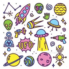 Hand Drawn Cartoon Alien Space Set by dmitriylo Hand drawn cartoon Alien space vector pack