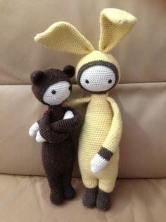 BINA the bear and Bunny mod made by Anika (bezany) / crochet pattern by lalylala