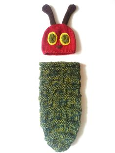 The Very Hungry Caterpillar hat and cocoon set newborn girl or boy newborn prop, Halloween costume, shower gift. $49.99, via Etsy.