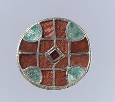 "Disk Brooch -  Garnets & Emeralds set in Silver with Cloisonné technique - 1 1/16"" x 3/8"" inches - Frankish - 6th century"
