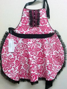 """""""Pink Frill"""" apron; self styled, fully lined; featuring pearl button tuxedo front and lingerie netting ruffles.  Made using fabric designed by Jennifer Paganelli for Free Spirit (Queen Street)"""