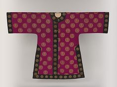 Woman's Birthday Coat, late 19th c. - Qing dynasty, Chinese, silk and metallic thread tapestry (kesi); decorated with tapestry Chinese motifs: the character 'shou' ('longevity') and the swastika 'wan' ('ten thousand years')