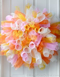 Party Ideas by Mardi Gras Outlet: Curly Deco Mesh Wreath Tutorial