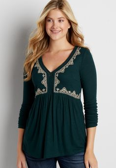 ribbed knit peasant top with embroidery On my wish list #wishpinwinsweepstakes #discovermaurices.