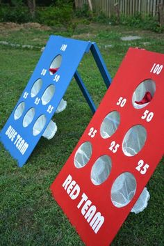 How to Make a DIY Backyard Bean Bag Toss Game - love the little mesh cups to catch them; no more arguing about which hole it went through!