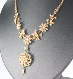 Lot 655g, An Edwardian 15ct yellow gold seed pearl necklace and earrings, Est £250-300