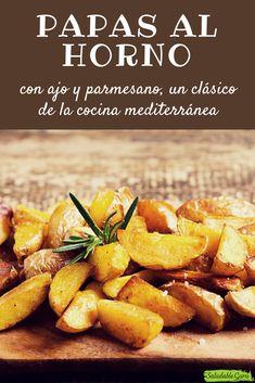 Papas al horno con ajo y parmesano, un clásico de la cocina mediterránea.  #saludableguru #natural #papas #horno #gratinadas #ajo #parmesano #receta #cocina #mediterranea