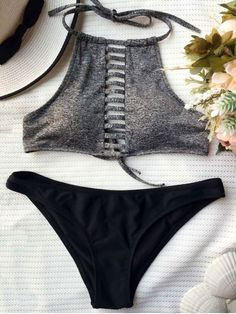 Color Block Lace Up Bikini Set - BLACK AND GREY M