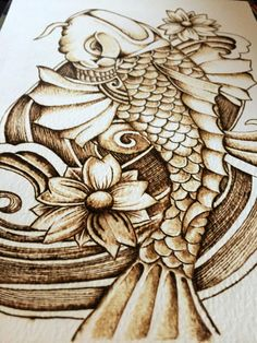Pyrography Koi on watercolour paper. door TimberleePyrography #art #koi…