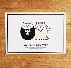 Personalized Cute Cat Wedding Art Printable By Madcatprints E