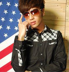 Korean Style Color Block Shirt Black sammydress.com