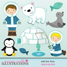 Eskimo Boy cute clipart set comes with 8 clipart graphics including: a boy eskimo, an eskimo fishing, 2 fish, a cute seal, a polar bear, a penguin and an igloo.