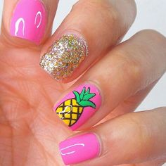 Want some ideas for wedding nail polish designs? This article is a collection of our favorite nail polish designs for your special day. Diy Nails, Cute Nails, Pineapple Nails, Pineapple Nail Design, Gold Pineapple, Bright Summer Nails, Pink Summer, Summer Time, Bright Colored Nails