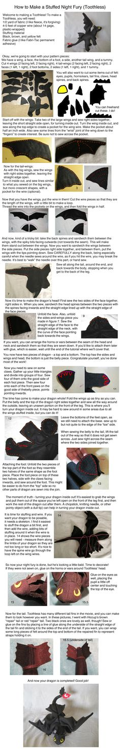 Stuffed Toothless Tutorial by Skylanth on DeviantArt : stuffed dragon Toothless . there's got to be a way to simplify this for a How to Train Your Dragon night! Sewing Toys, Sewing Crafts, Sewing Projects, Free Sewing, How To Train Your, How Train Your Dragon, Felt Crafts, Fabric Crafts, Toothless Dragon