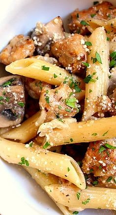Penne with Chicken Sausage and Cremini Mushrooms