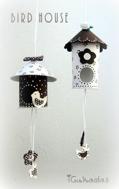 Bird house out of toilet paper roll. Toilet Roll Craft, Toilet Paper Roll Crafts, Diy Paper, Kids Crafts, Diy And Crafts, Arts And Crafts, Diy Projects To Try, Craft Projects, Diy Y Manualidades