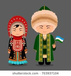 Bashkirs in national dress with a flag. Man and woman in traditional costume. Travel to Russia (Republic of Bashkortostan). People. Vector flat illustration.