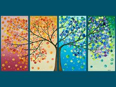 Gorgeous. I want to make something similar.... multi-panel with a tree.  Maybe horizontal panels?  Or if sideways, 4 seasons? Blue, green, yellow, red?   What about a night scene? Snow? Thunderstorms? Moon varying by panel?