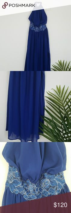 Halter Maxi Dress Purchased from ASOS and worn once to a wedding. Has been dry cleaned since. Excellent condition. Has a side slit and open back. Little buttons to enclose the halter, see last picture. Brand is Lydia Bright. ASOS Dresses Maxi