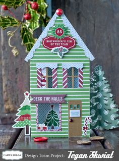Scrap Happiness: Christmas home decor house Christmas Minis, Christmas Paper, Christmas Projects, Christmas Home, Holiday Crafts, Holiday Decor, Christmas Scrapbook Layouts, Card Making Templates, Anna Griffin Cards