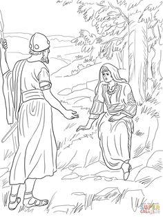 Barak and Deborah Sitting Under a Palm Tree | Free printable coloring page