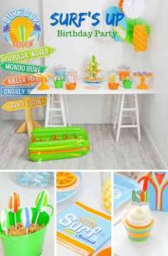 If you're planning a summer birthday party, you'll want to check out this totally tubular party from @Kara's Party Ideas .com. The bright color scheme of lime green, turquoise, orange and yellow really makes the party decorations pop and the beach and surfing icons will make you want to hang ten!