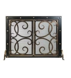If you're looking to add rustic beauty and safety to your family room, look to the Othello Fireplace Screen! This two-door fireplace screen keeps the fire contained and your sense of style enlightened.  Screen featuring beautifully crafted scrollwork. Elegant nailheads on the frame enhance any style of décor. Double doors open for ease of use, while front and back feet offer added stability.
