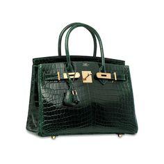 A SHINY VERT FONCÉ NILOTICUS CROCODILE BIRKIN 30 WITH GOLD HARDWARE Hermes Bags, Hermes Birkin, Birkin Bags, Hermes Handbags, Tote Handbags, Designer Handbags, Brand Name Bags, Beautiful Handbags, Cute Bags
