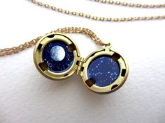 Constellation Locket Truly Hand-Painted Enamel by kharaledonne