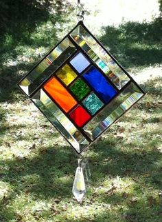 Unique Stained Glass and Beveled Glass Chakra Suncatcher with Asfour Crystal drop