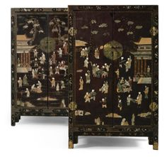 A PAIR OF HARDSTONE-INLAID GILT-LACQUER CABINETS QING DYNASTY, 19TH CENTURY - Sothebys