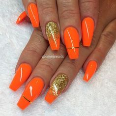 Want to know how to do gel nails at home? Learn the fundamentals with our DIY tutorial that will guide you step by step to professional salon quality nails. Orange Nail Designs, Colorful Nail Designs, Fall Nail Designs, Cute Nail Designs, Sexy Nails, Cute Nails, Pretty Nails, Fabulous Nails, Gorgeous Nails