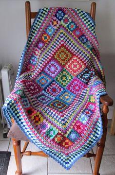 Beautiful multi-coloured OOAK hand crocheted patchwork granny square blanket #Handmade