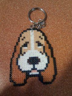 Basset Hound Dog keychain hama mini beads by Andres Moreno Rodriguez