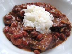 """""""Oh yeah, this is it!"""" - are the words my husband declared when he tried this recipe for red beans and rice. He was craving New Orleans-style red beans and rice and I had never made it before- so this is the recipe I searched for a Creole Recipes, Cajun Recipes, Bean Recipes, Rice Recipes, Crockpot Recipes, Cooking Recipes, Ham Hock Recipes, Haitian Recipes, Donut Recipes"""