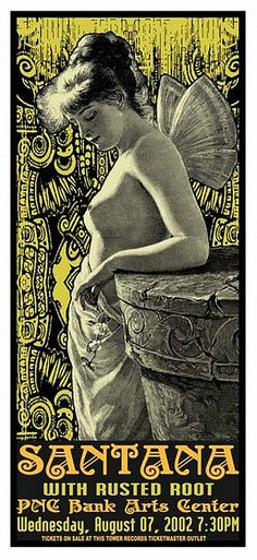Santana with Rusted Root (August 07.2002 at PNC Bank Arts Center,Holmdel,NJ) music rock concert psychedelic poster