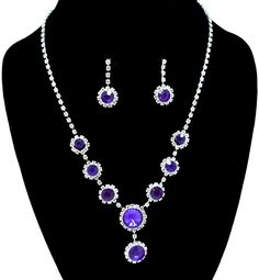 #77163-WCC/Rhinestone Necklace & Earring Set-Silver/Purple