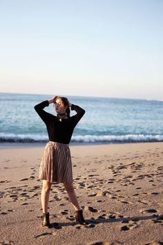 Falda rosa palo terciopelo- Martina Lubian
