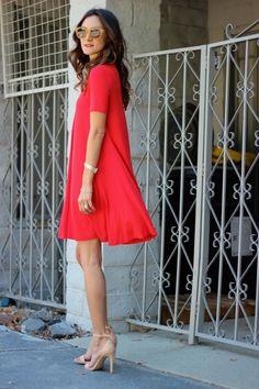 Fire Engine Red Swing Dress + Nude heels