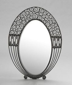 French Art Deco Patinated Metal Oval Wall Mirror, in the style of Edgar Brandt, h. Art Deco Mirror, Metal Mirror, Mirror Mirror, Art Nouveau, Bauhaus, Design Industrial, Bijoux Design, Inspiration Art, Art Deco Furniture