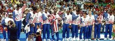 The original USA Basketball Dream Team won gold medal 20 year ago on August 1992 at Summer Olympic in Barcelona, Spain Olympic Basketball, Basketball Legends, Basketball Teams, Usa Olympics, Summer Olympics, Dream Team 1992, Chigago Bulls, Nba Tv, The Sporting Life