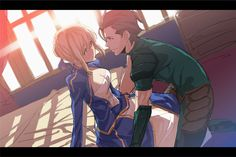 saber x lancer from Fate/Zero  asdfghjkl my otp qwq