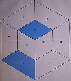 Quilt Square Patterns, Barn Quilt Patterns, Paper Piecing Patterns, Hexagon Quilt, Pattern Blocks, Tumbling Blocks Quilt, Quilt Blocks, Patchwork Quilting, Quilting Templates
