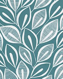 Tapet Leaves Teal With White från MissPrint